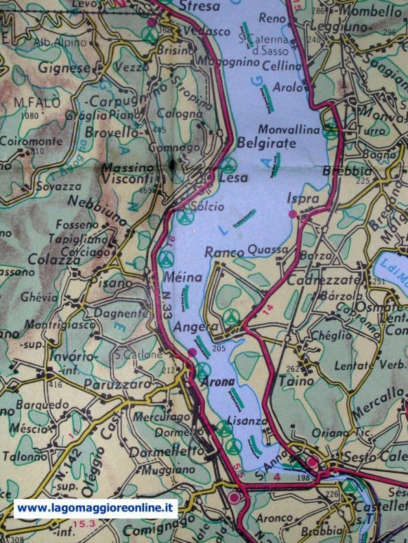 map of the low Lake Maggiore-Piedmont Italy